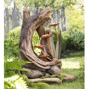 """Decorative Woodland Stump Electric Water Fountain, 26"""" H"""