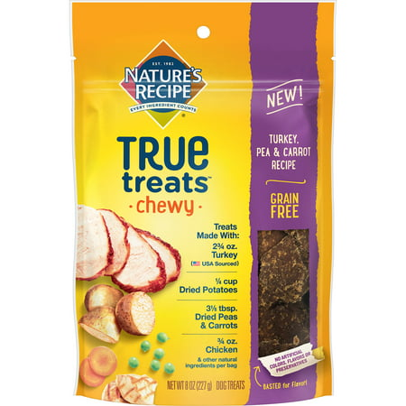 Nature's Recipe True Treats with Turkey, Pea & Carrot, Grain-Free, Natural, Chewy Dog Treats, 8 Ounce