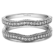 0.48 Ct. Contour Ring Guard with Millgrained Edges and Filigree Cut Out Design With Cubic Zirconia Mounted in Sterling Silver (Size 6, 7 or 8)