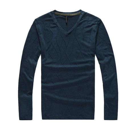 Men Fashion V Neck Pullover Stretch Form Fitting Fit Knit