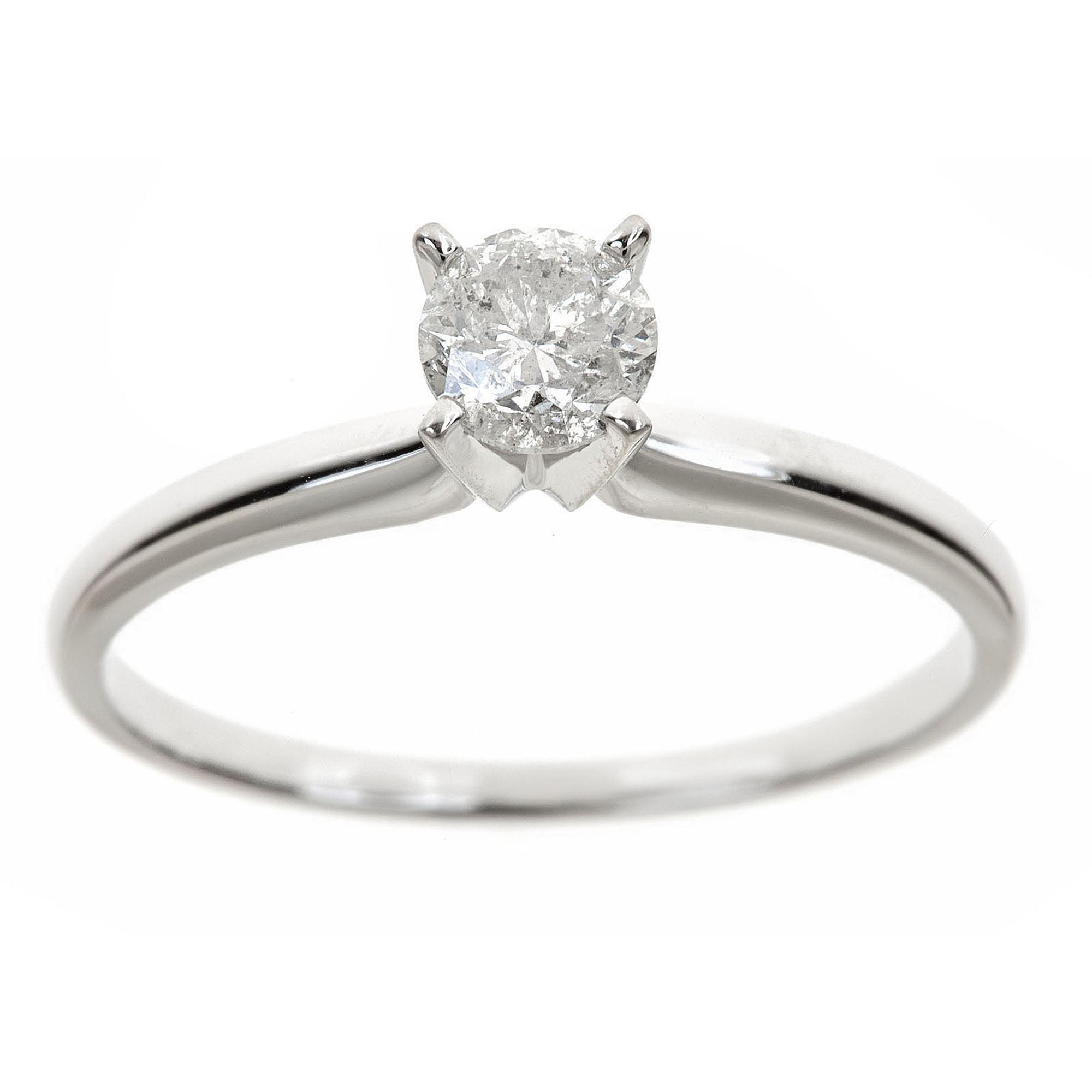05 Carat TW Round White Diamond 14kt White Gold Solitaire Ring