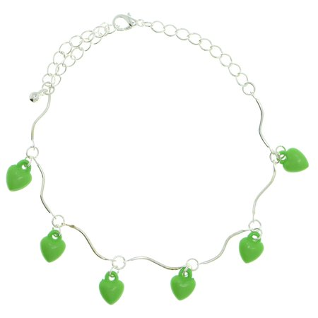 Ankle Bracelet With Green Heart Drop Shaped Charm Accents Silver-Tone
