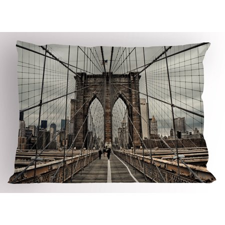 United States Pillow Sham View Of Historical Famous Brooklyn Bridge and Cable Pattern NYC Architecture, Decorative Standard Queen Size Printed Pillowcase, 30 X 20 Inches, Beige Brown, by -