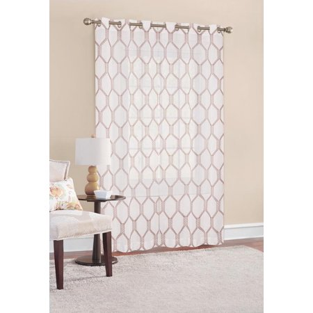 - Better Homes & Gardens Stitched Ogee Sheer Window Curtain Panel