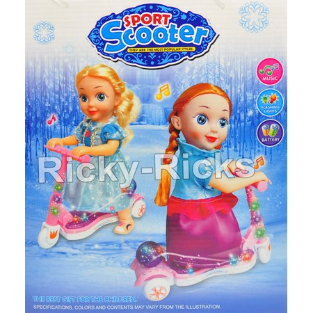 Kids Light Up Toys (Anna Elsa Light Up Scooter Electronic Toy LED Walking Kids Music Flashing Light)