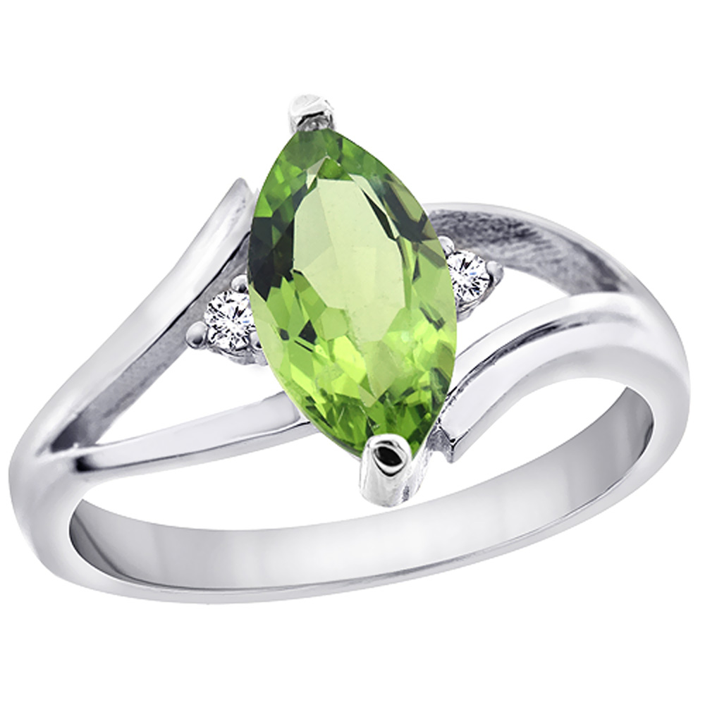 10K White Gold Natural Peridot Ring Marquise 10x5 mm Diamond Accent, sizes 5 10 with half sizes by WorldJewels