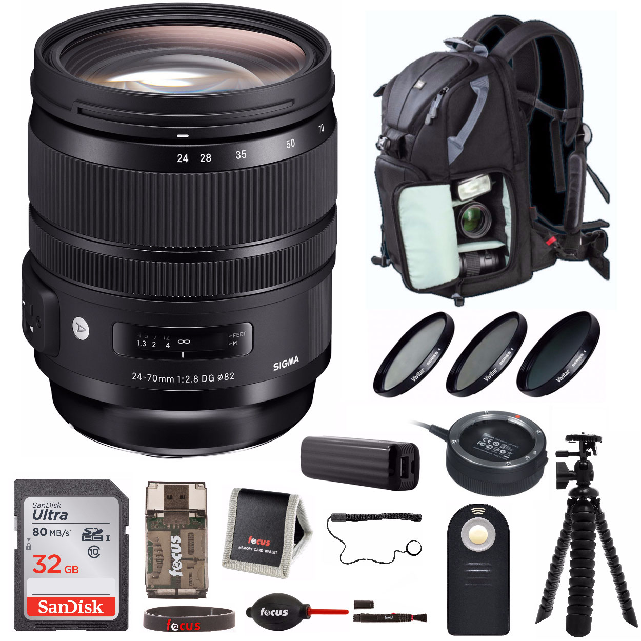 Sigma 24-70mm f2.8 DG OS HSM ART Lens for Nikon with USB Dock and SD Card Bundle