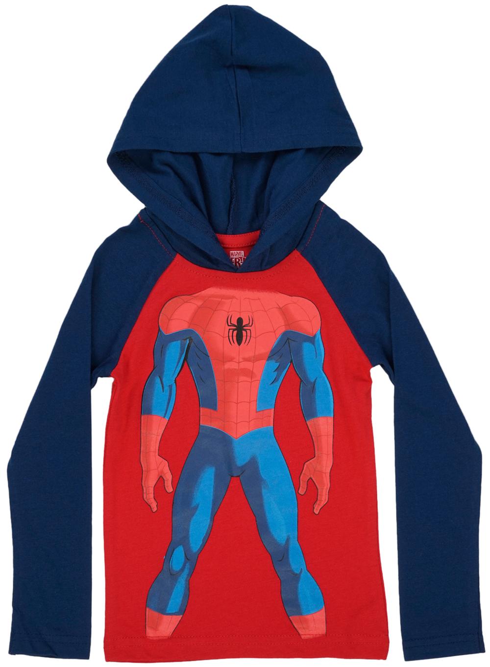 Toddler Spiderman Body Long Sleeve Hooded Shirt Marvel Boys