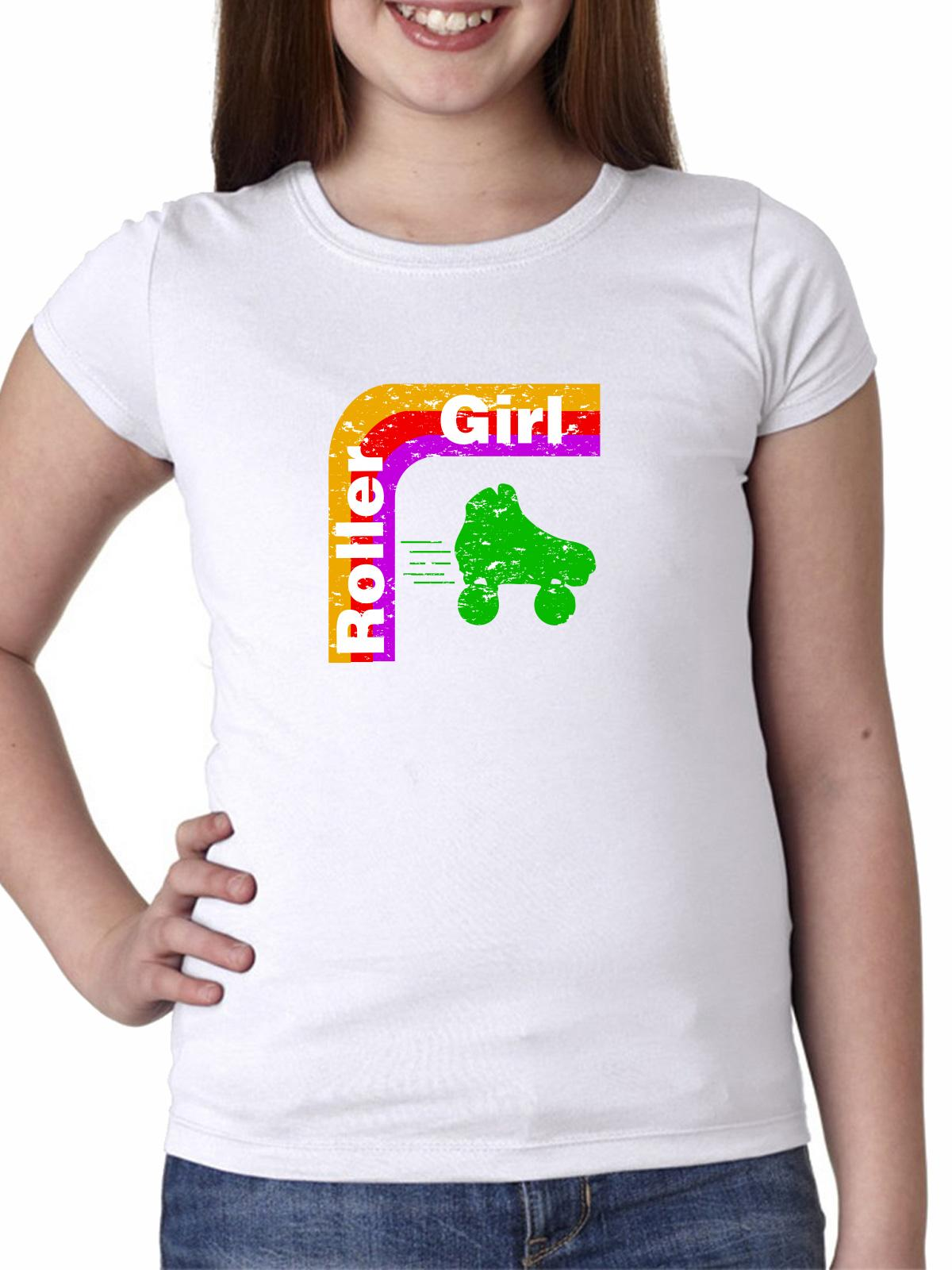 Roller Girl Roller Skate & Rainbow Arch 70s Girl's Cotton Youth T-Shirt by Hollywood Thread