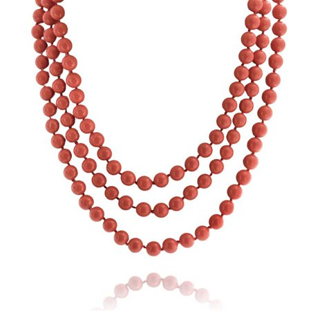 Orange Red Dyed Coral Color Beads Endless Layering Long Strand Necklace For Women 69 Inch