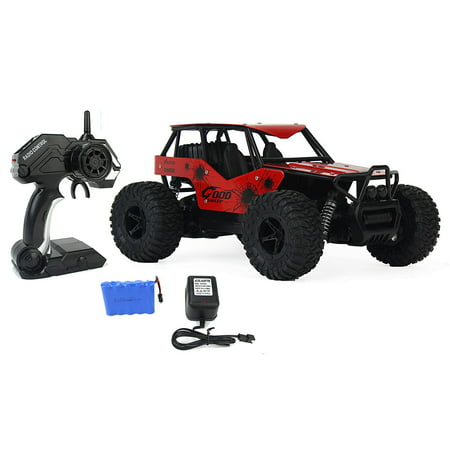 The King Cheetah Turbo Remote Control Toy Red Rally Buggy RC Car 2.4 GHz 1:16 Scale Size w/ Working Suspension, Spring Shock -