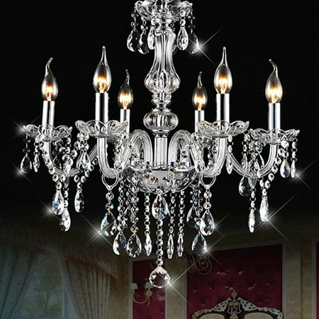 600W E12 Elegant Candle Clear Crystal Chandelier Ceiling 6/8/10 Arm Lights Fixture Modern Pendant Hanging Lamp DIY Decal For Home Decor Bedroom Restaurant AC110V/220V