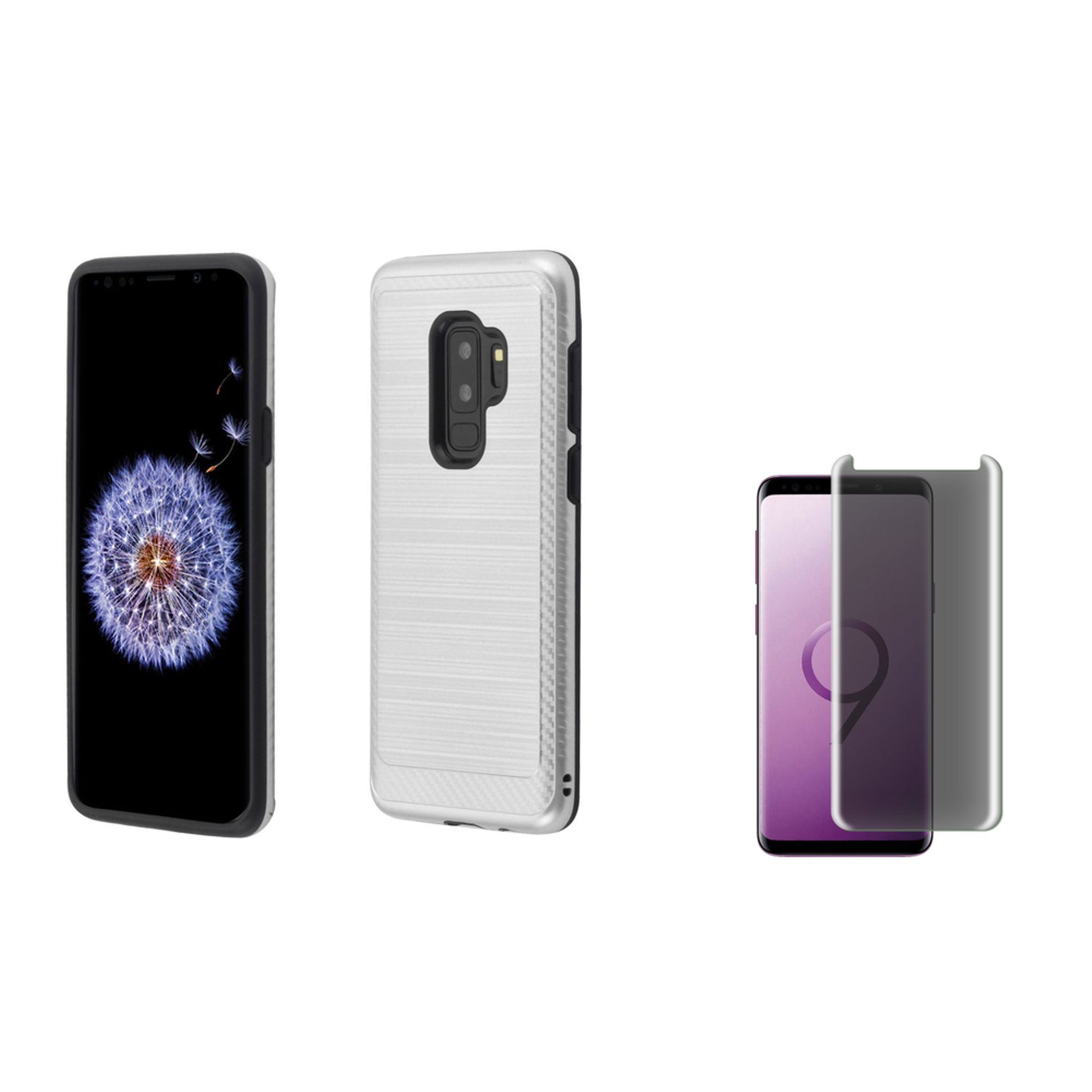 Galaxy s9 plus case with screen protector privacy glass by Insten Carbon Fiber Dual Layer Hybrid Brushed with Card Slot Phone Case Cover For Samsung Galaxy S9 Plus S9+, Silver/Black