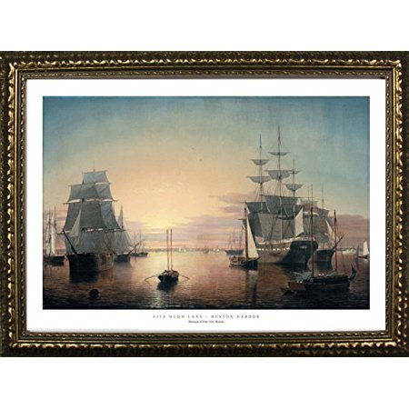 FRAMED Boston Harbor by Fitz Hugh Lane 24x36 Art Print Poster Famous Painting Ocean Sailboats Fleet of Ships From Museum of Fine Arts Boston Collection - Mobile Museum Art