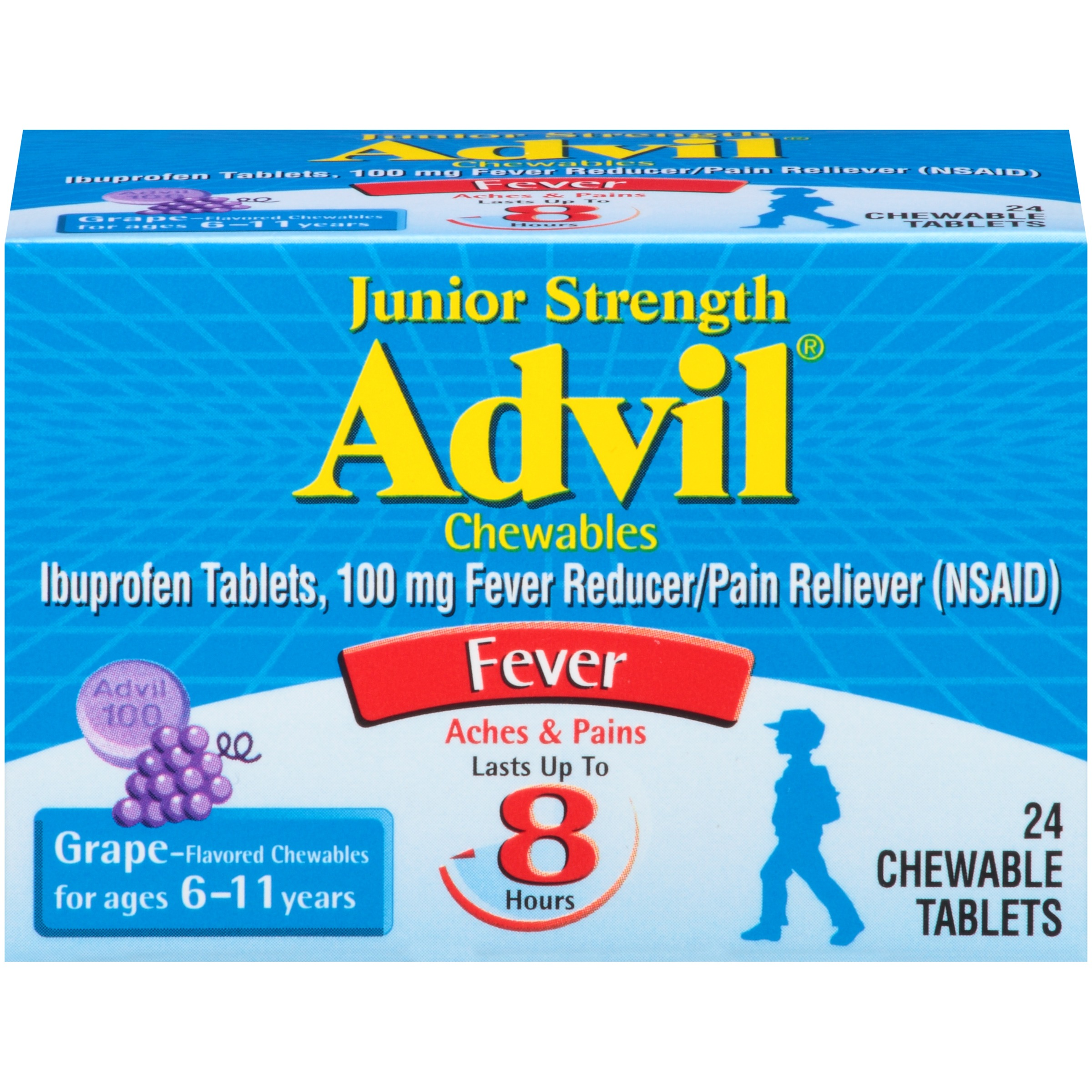 Advil Junior Strength Fever Reducer / Pain Reliever Chewable Tablets, 100mg Ibuprofen (Grape Flavor, 24 Count, Pack of 2)