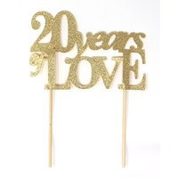 All About Details 20 Years of Love Cake Topper, 1PC, 20th year anniversary, 20th birthday (Gold)