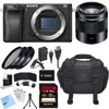 Sony ILCE-6300 a6300 4K Mirrorless Camera Body w/ 50mm Prime Lens Bundle includes Camera, 50mm Lens, 49mm Filter Kit, Battery, Charger, 32GB SDHC Memory Card, Bag, Beach Camera Cloth and More