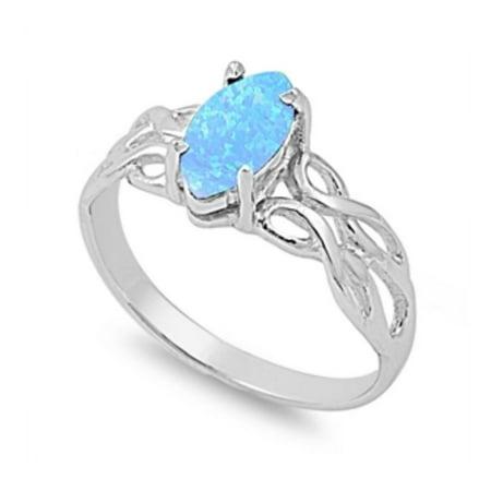 925 Sterling Silver Celtic Design Lab opal Gem Ring 925 Sterling Silver Lab