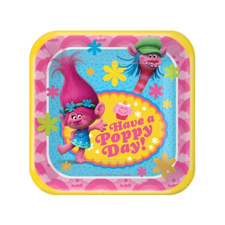 7 Trolls Square Paper Party Plate