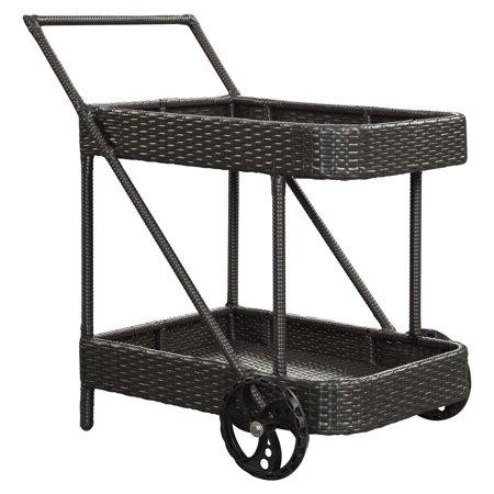 Aluminum Serving Cart - Modway Replenish Outdoor Patio Beverage Cart in Espresso