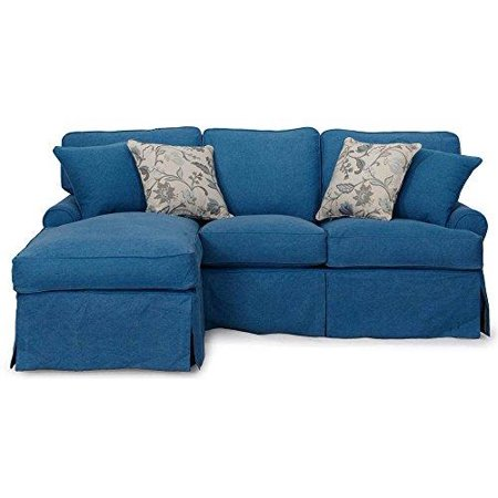 4 Pc Sleeper Sofa Chaise Slip Cover Set Bed Futon Couch Lounger Furniture Blu