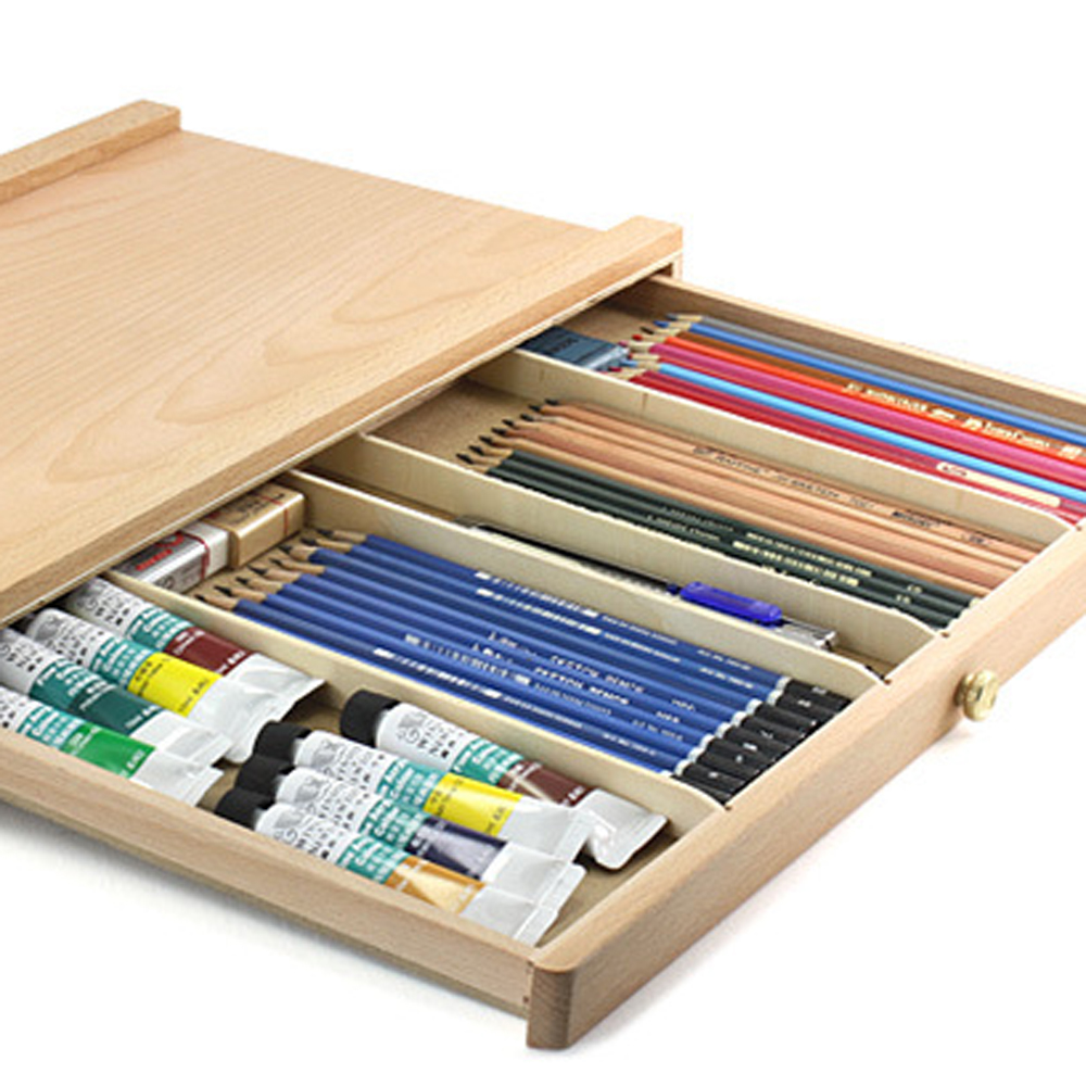 Ktaxon Beachwood Artist Drawing Board Sketch Box Drawer Easel, Adjustable Design with Divided Storage Compartment - Painting Pencil Case Pouch