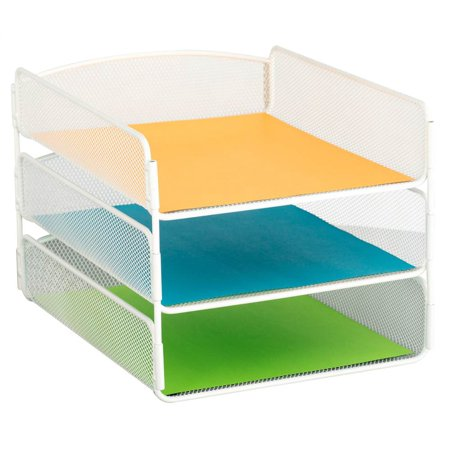 Triple tray desk organizer in white - Desk organizer white ...