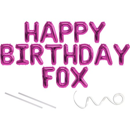 Fox, Happy Birthday Mylar Balloon Banner - Pink - 16 inch Letters. Includes 2 Straws for Inflating, String for Hanging. Air Fill Only- Does Not Float w/Helium. Great Birthday