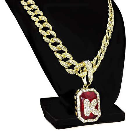 Letter K Red Faux Ruby Cuban Chain Gold Finish Iced-Out Initial Necklace 24