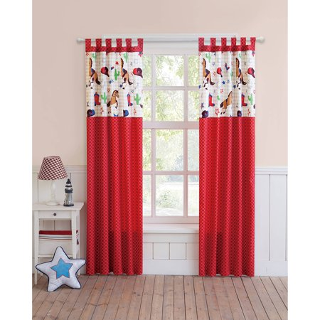 VCNY Home Big Believers Yeehaw Red Cowboy Inspired Kids Curtain Panel Pair