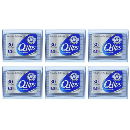 Q-tips Cotton Swabs For Beauty And First Aid Travel Pack 30 Each Pack Of 6