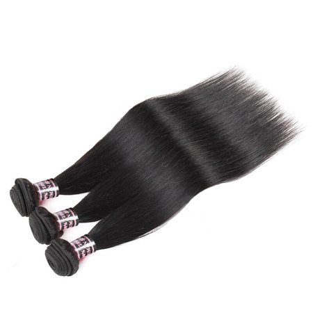 Zury Lace Weave (Allove 7A 360 Lace Frontal Closure with 3 Bundles Brazilian Straight Hair Weave, 10