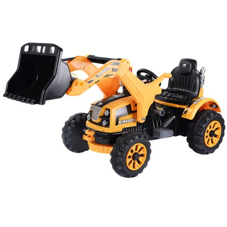 12V Battery Powered Kids Ride On Excavator Truck With Front Loader Digger Yellow - Halloween Power Loader