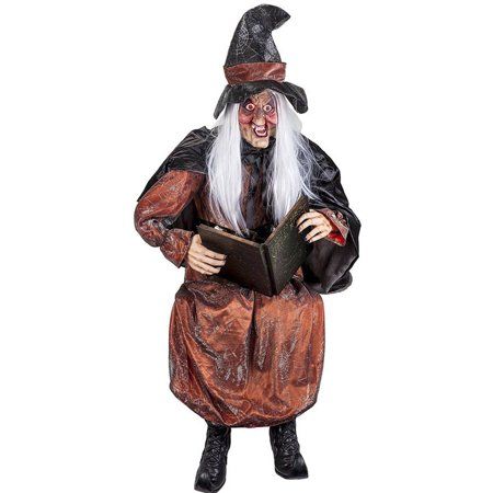 Life Size Talking Storytelling Witch with Light-Up Eyes Halloween Decoration - Halloween Window Decorations Eyes