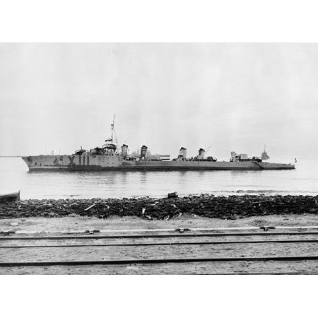 Canvas Print North African Invasion, November 1942: The French destroyer Milan beached off Casablanca, Morocco, o Stretched Canvas 10 x 14