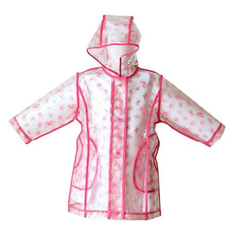 Pluie Pluie Girls Transparent Fuchsia Bow Unlined Rain Coat 7-10