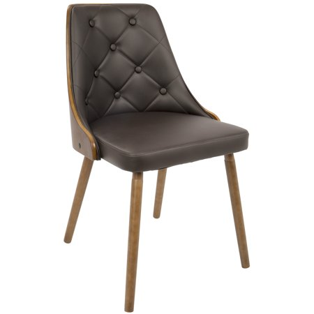 Gianna Mid-Century Modern Dining/Accent Chair in Walnut with Brown Faux Leather by