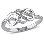 Miabella 1/7 CT TW Diamond Infinity Ring in 10k White Gold