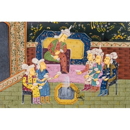 Detail From Painting From 17Th Century Persian Manuscript Hunters And Favourites Drinking With Noble Or King Posterprint