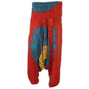 Mogul Womens Indian Alibaba Harem Pants Red Mandala Print Yoga Boho Hippie Romper Trousers