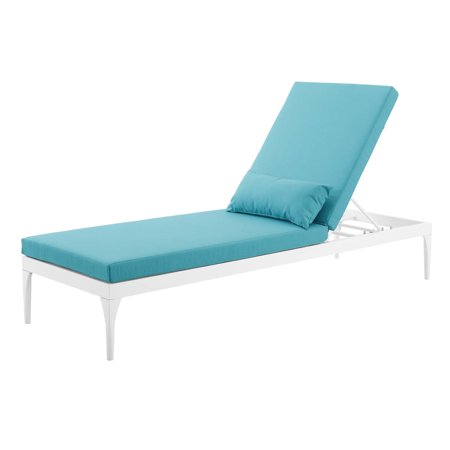 Modern Contemporary Urban Design Outdoor Patio Balcony Garden Furniture Lounge Chair Chaise, Fabric Metal Steel, White Blue ()