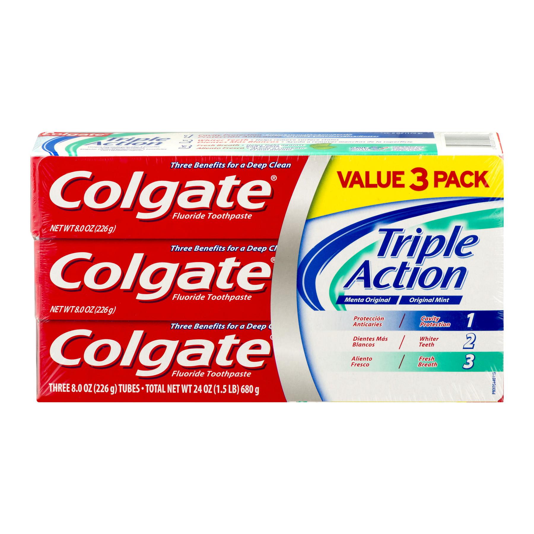 Colgate Triple Action Original Mint Fluoride Toothpaste Value Pack, 8.0 oz, 3 count