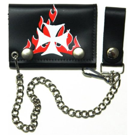 Choppers Maltese Cross Red Flames Biker Chain Leather Wallet Tri Fold
