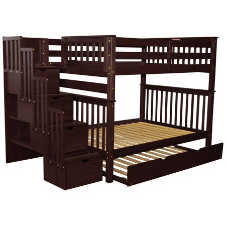 Bedz King Stairway Bunk Beds Full over Full with 4 Drawers in the Steps and a Twin Trundle, Cappuccino (Bunk Beds For Kids Full Over Full)