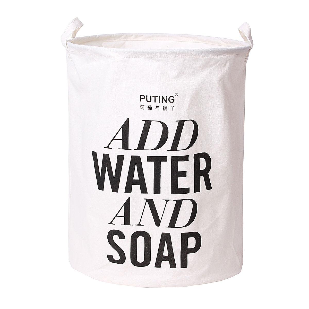 Grtsunsea Foldable Laundry Bag Basket Cotton Linen Hamper Dirty Washing Clothes & Toy Storage Organizer, ADD WATTER