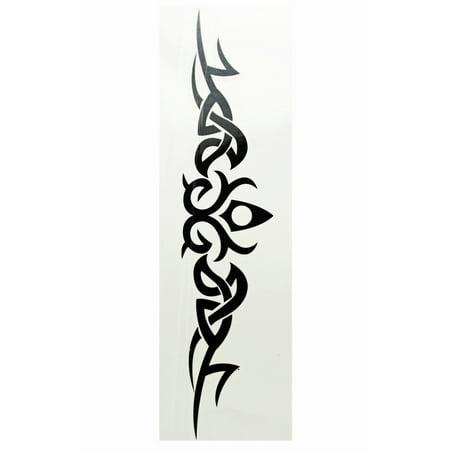 Regal Pointed Center w/Eminating Swirls Temporary Tribal Tattoo (Girl Tribal Tattoos)