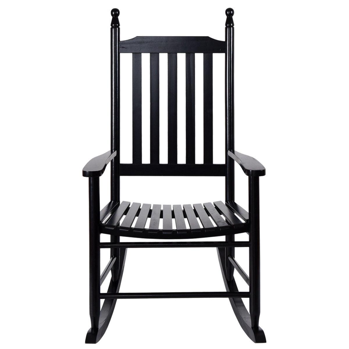 Gymax Wooden Rocking Chair Porch Rocker Armchair Balcony Deck Garden Furniture Black - image 2 of 8