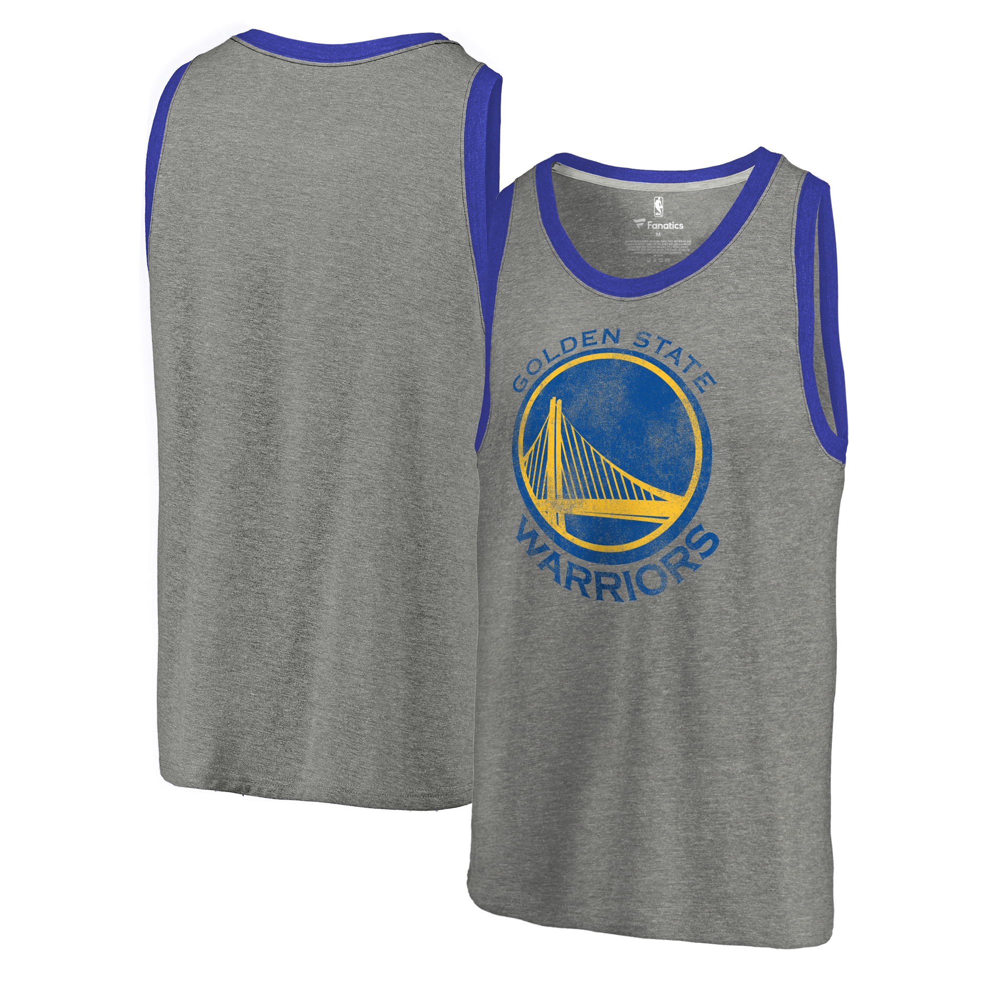 Golden State Warriors Fanatics Branded Distressed Team Logo Tank - Ash