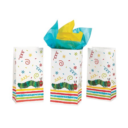 Fun Express - Very Hungry Caterpillar Treat Bag for Birthday - Party Supplies - Bags - Paper Treat Bags - Birthday - 12 Pieces](Caterpillar Birthday Party)