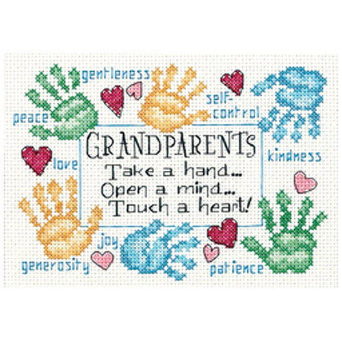 "Dimensions ""Grandparents Touch A Heart"" Mini Counted Cross Stitch Kit, 7"" x 5"""